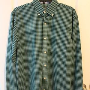 Izod Navy/Green Check Button Front Shirt SZ S